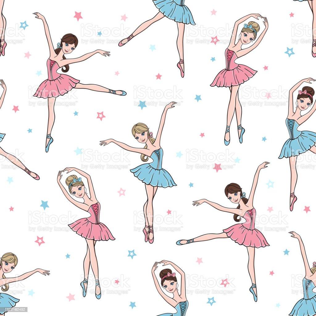 1534f56200 Ballet danza de patrones sin fisuras con linda bailarina en tutú vestidos y  estrellas ilustración de