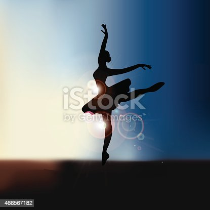 Ballet dancer background with copy space EPS10 vector royalty free stock illustration for greeting card, ad, promotion, poster, flier, blog, article, social media, marketing, dance studio, performance