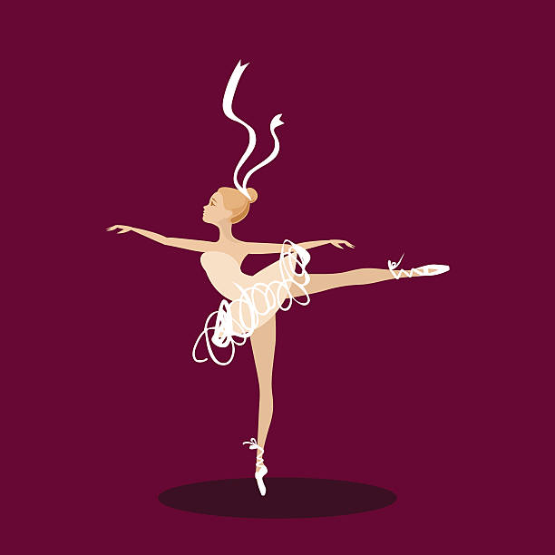 ballet dancer on stage vector art illustration