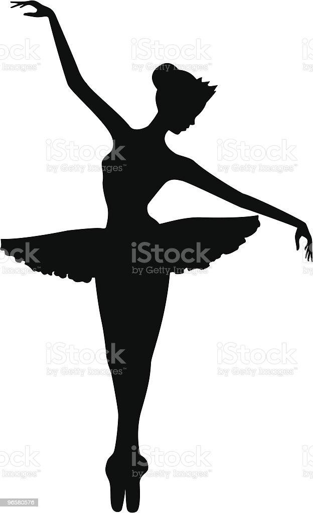 Ballet Dancer on Toes Silhouette - Royalty-free Artiest vectorkunst