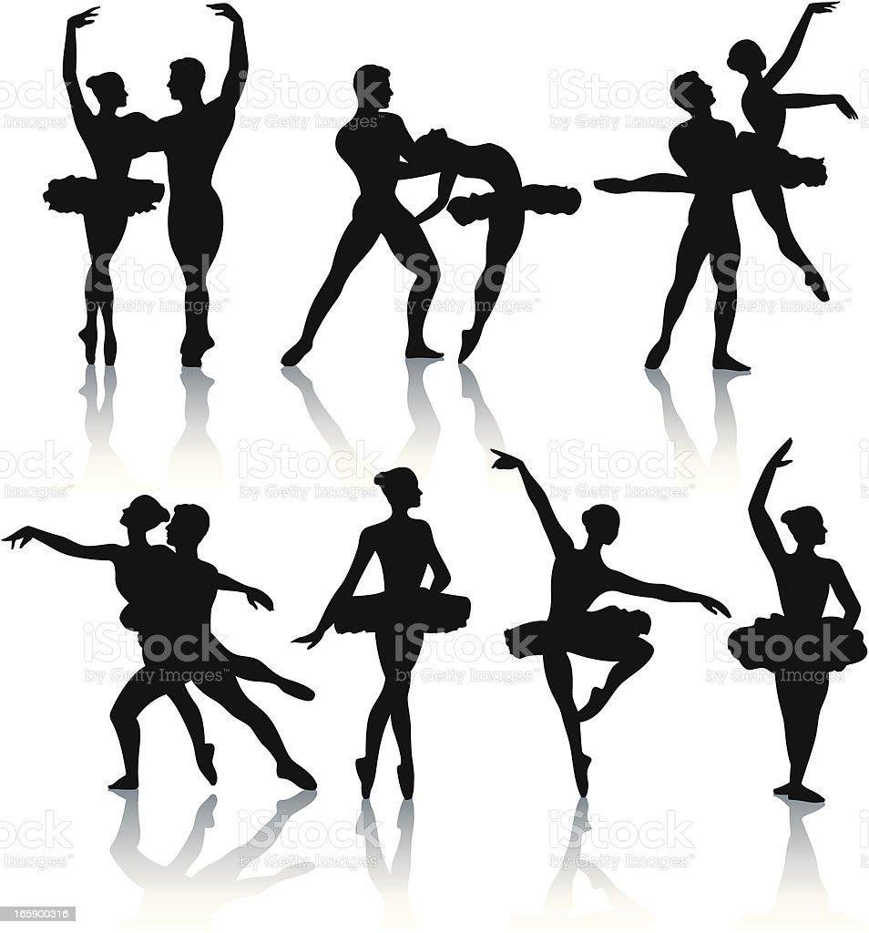 Ballet dancer silhouettes vector art illustration