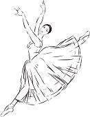 Vector drawing of a dancing ballerina.