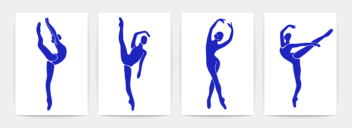Ballet dancers contemporary posters. Beautiful women shapes. Silhouettes of ballerinas in blue colors, vector art