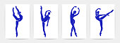 istock Ballet dancers contemporary posters. Beautiful women shapes. Silhouettes of ballerinas in blue colors, vector art 1307450859