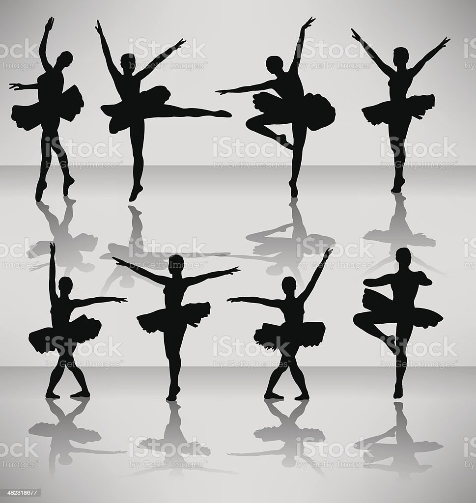 Ballet Dancers - female vector art illustration