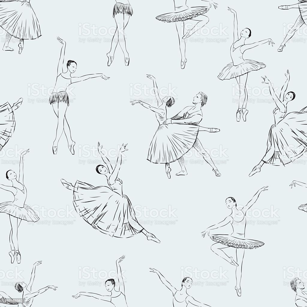 ballet dancers pattern vector art illustration