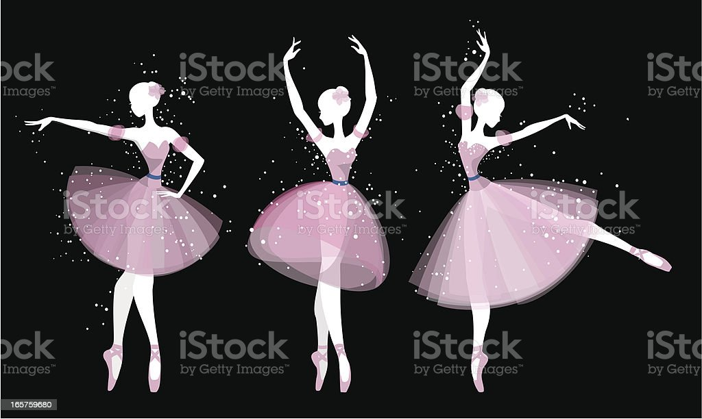 Ballet dancers silhouette vector art illustration