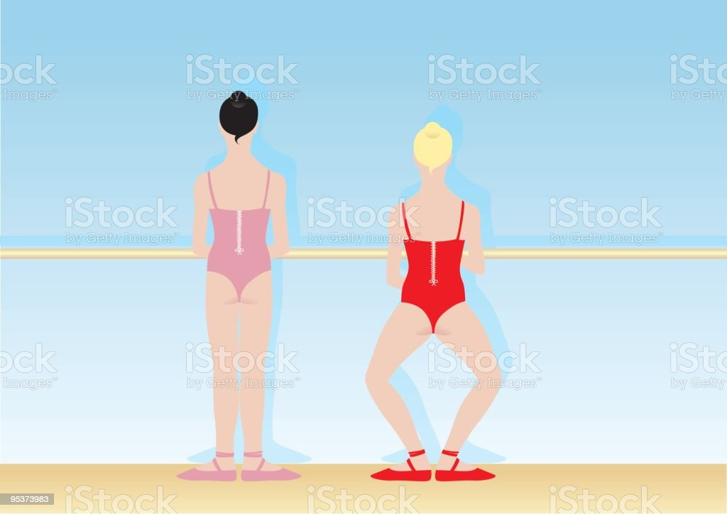 Ballet dancers vector art illustration