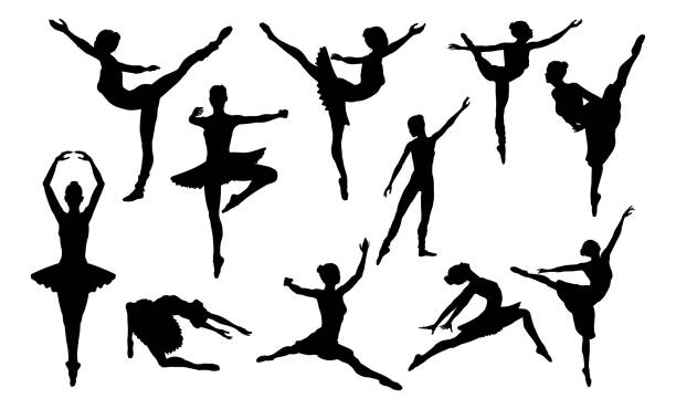illustrations, cliparts, dessins animés et icônes de ballet danse silhouettes ensemble - danser