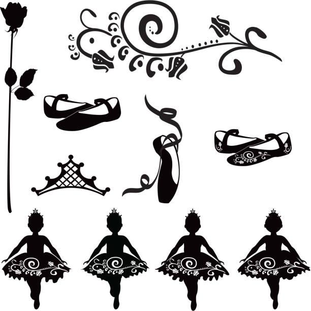 Ballet elements for toddlers in tutus vector art illustration