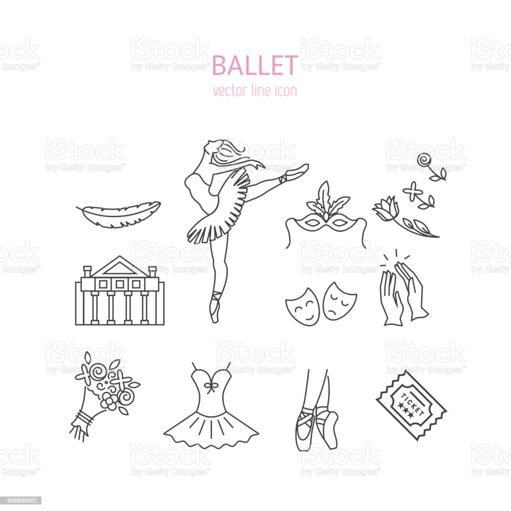 Ballet icons set vector art illustration