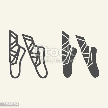 istock Ballet line and solid icon. Ballet pointes outline style pictogram on beige background. Dance studio symbol for mobile concept and web design. Vector graphics. 1220802589