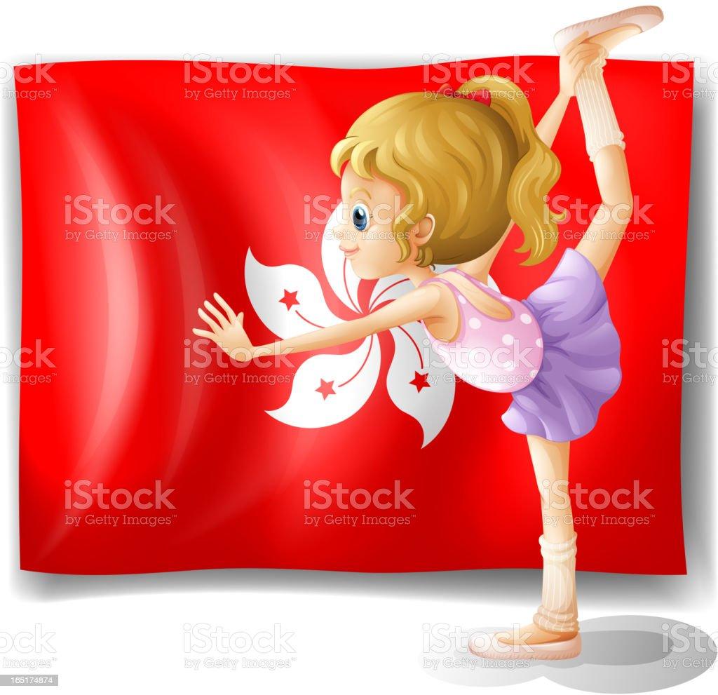 Ballet performer and the flag of Hongkong royalty-free stock vector art