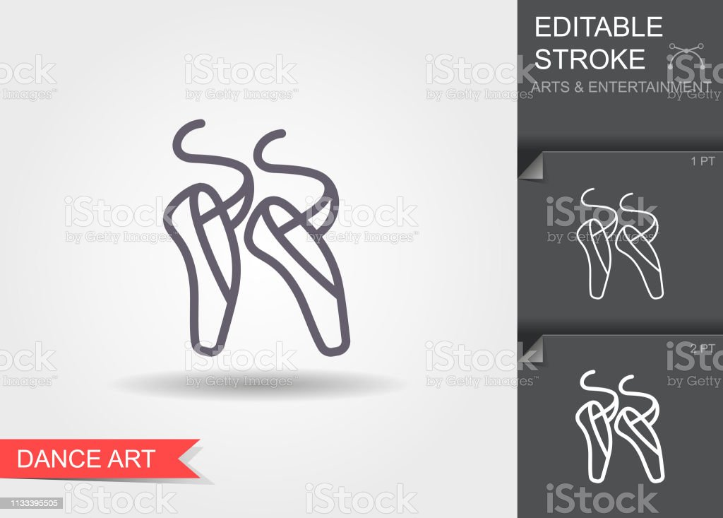 Ballet pointes. Line icon with editable stroke. Linear art symbol