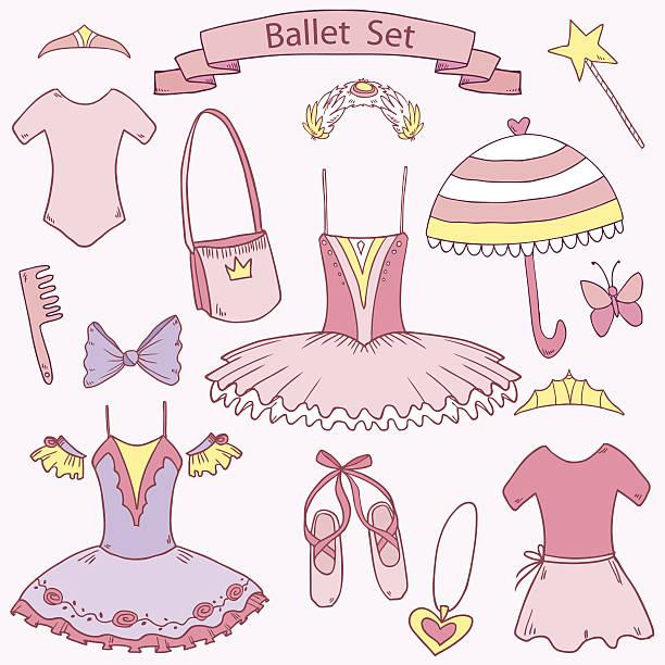 Ballet school set for little girl princess vector art illustration