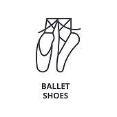ballet shoes line icon, outline sign, linear symbol, flat vector illustration