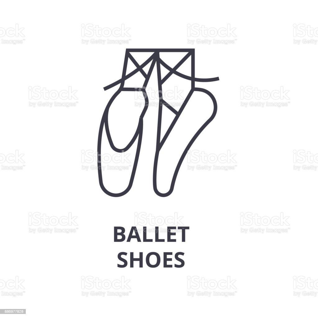 ballet shoes line icon, outline sign, linear symbol, vector, flat illustration vector art illustration