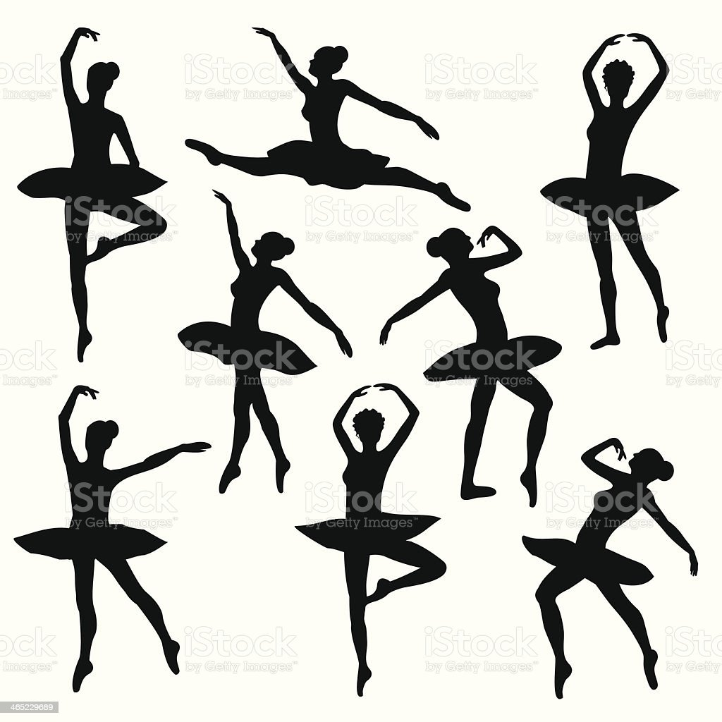 ballet silhouette  ballerina vector art illustration