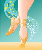 Illustration of pair of legs in satin ballet shoes pirouetting wiyh stars in the background. Images placed on separate layers for easy editing. High resolution JPG and Illustrator 0.8 EPS included.