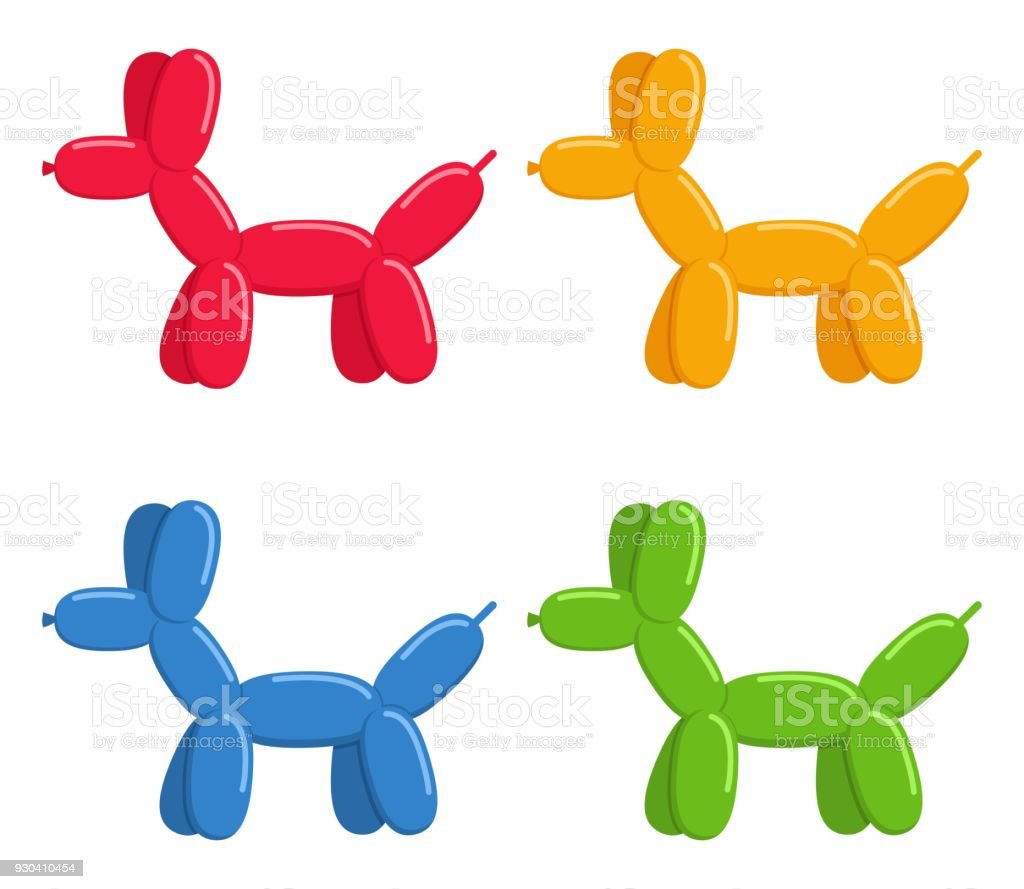 Ballon dogs set isolated on white background. Cute bubble animals dogs toys in flat style. Vector illustration vector art illustration