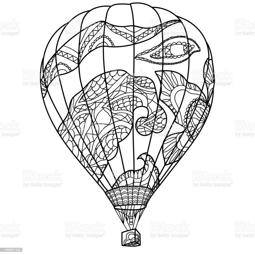 Ilustración De Patrón De Globo Globo Aerostático Para Colorear Libro