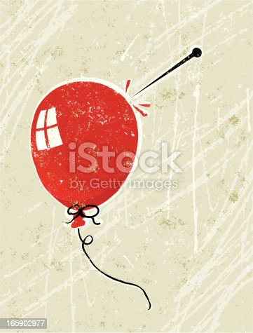 Deflation! A stylized vector cartoon of a Balloon and a pin, the style is  reminiscent of an old screen print poster, suggesting deflation, negativity, fragility, aggression or bursting the bubble. Balloon, pin, paper texture and background are on different layers for easy editing. Please note: clipping paths have been used,  an eps version is included without the path.