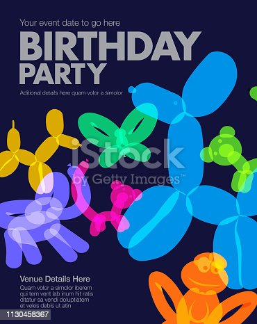 Colourful overlapping silhouettes of Balloon Animals Birthday Banner.