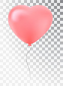 Balloon as a pink heart. Symbol of love. Gift. valentine's day. Vector realistic 3de object. Isolated object on a transparent background.