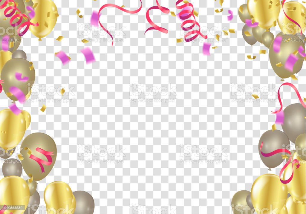 Balloon Banner Template Abstract Colorful Celebration