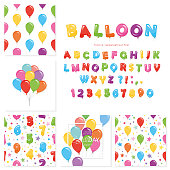 Balloon big set. For birthday and holidays design. Vector