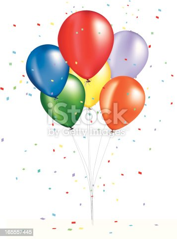A bouquet of brightly colored balloons. I also have individual balloons in different colors.