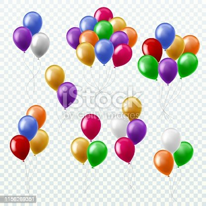 Balloon bunches. Party decoration color balloons flying groups isolated 3d multicolored vector set