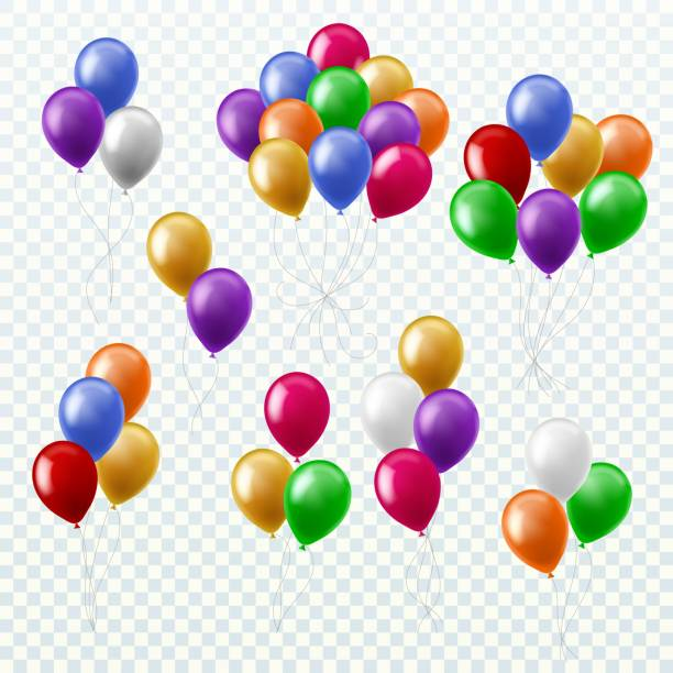Balloon bunches. Party decoration color balloons flying groups isolated 3d vector set Balloon bunches. Party decoration color balloons flying groups isolated 3d multicolored vector set bunch stock illustrations