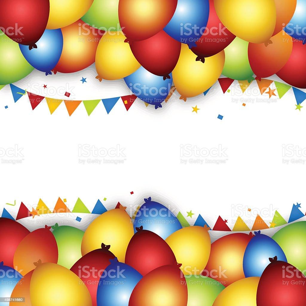 Palloncini festa sfondo con bandiere coriandoli e nastri - Immagine con palloncini ...