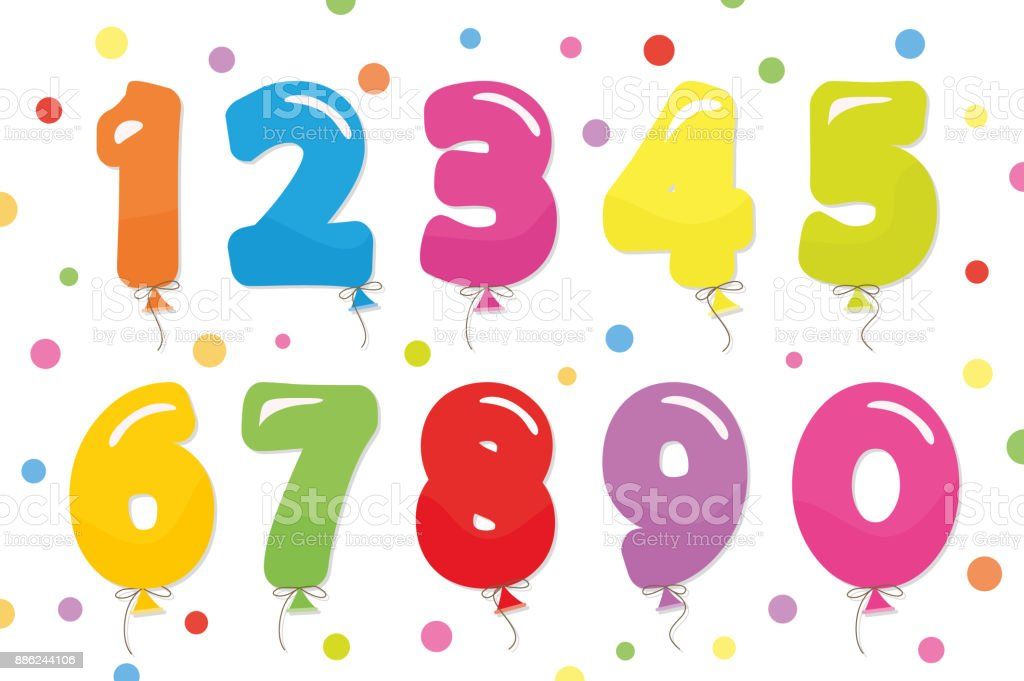 Balloon coloder numbers set. For birthday and party festive design. vector art illustration