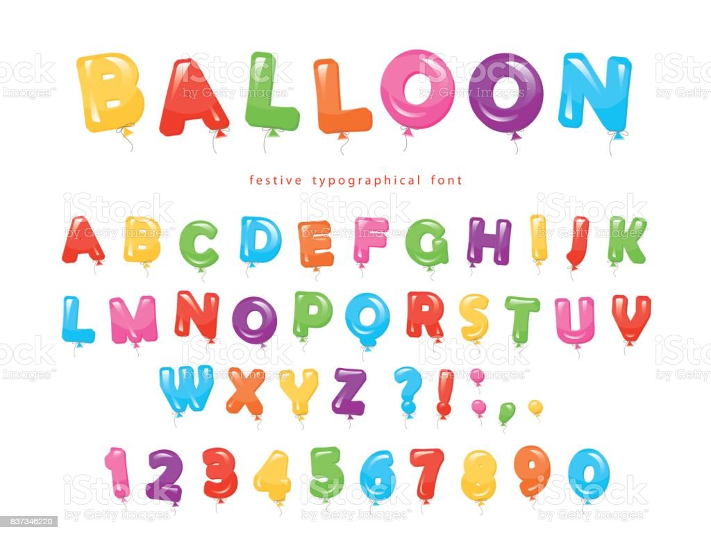 Balloon colorful font. Festive glossy ABC letters and numbers. For birthday, baby shower celebration. vector art illustration