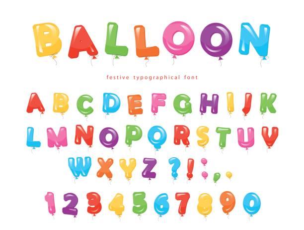 Ballon bunte Schrift. Festlich glänzende ABC Buchstaben und zahlen. Zum Geburtstag baby-Dusche fest. – Vektorgrafik