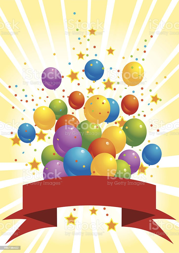 Balloon Explosion with Banner royalty-free stock vector art