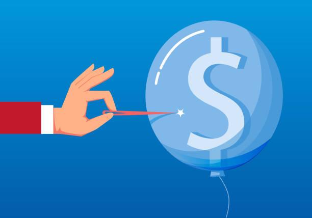 mit dollar gefüllter ballon wurde punktiert - geldstrafe stock-grafiken, -clipart, -cartoons und -symbole