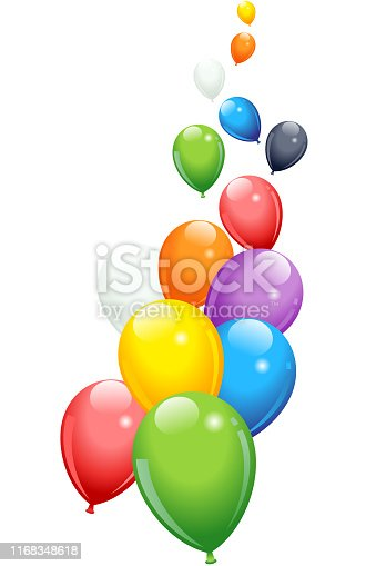 Colorful balloons flying vertically in vector
