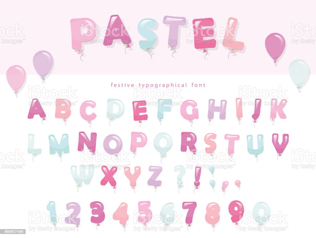 パステル カラーのバルーン フォント デザインかわいい abc の文字と数字
