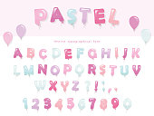 Balloon font design in pastel colors. Cute ABC letters and numbers. For birthday, baby shower celebration. Vector