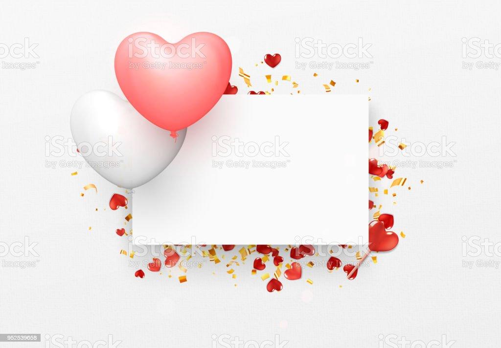 Ballon Herzen Design Weißen Rahmen Happy Valentines Day Stock Vektor ...