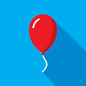Vector illustration of a red balloon against a blue background in flat style.