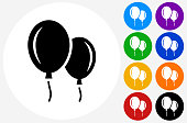 Balloon Icon on Flat Color Circle Buttons. This 100% royalty free vector illustration features the main icon pictured in black inside a white circle. The alternative color options in blue, green, yellow, red, purple, indigo, orange and black are on the right of the icon and are arranged in two vertical columns.