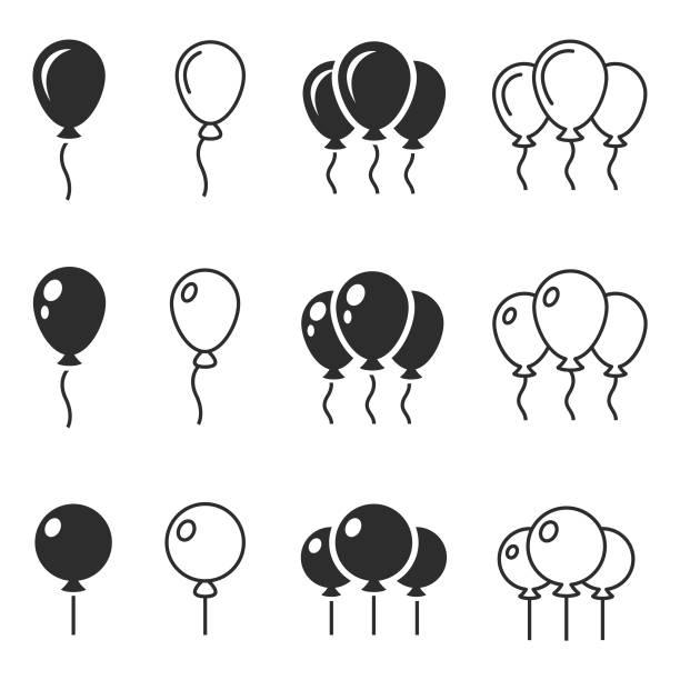 balloon-symbol-vektor - ballon stock-grafiken, -clipart, -cartoons und -symbole
