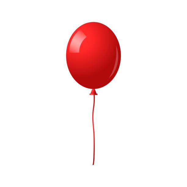 在白色背景上隔離的氣球。帶長絲帶的紅色氣球。節日和生日聚會的裝飾 - 橡膠 幅插畫檔、美工圖案、卡通及圖標