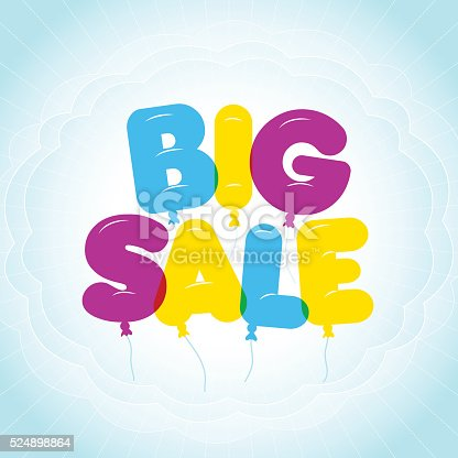 Balloon Lettering Colorful Big Sale Text Bubble Letters Stock Vector Art More Images Of Backgrounds 524898864
