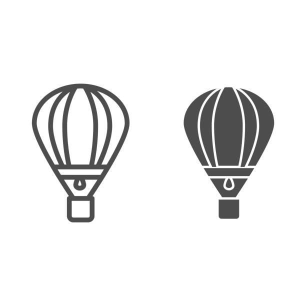 линия воздушного шара и твердая икона, символ воздушного транспорта, знак вектора воздушного шара на белом фоне, значок транспорта аэроста� - hot air balloon stock illustrations