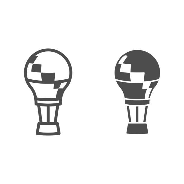 воздушный шар линии и твердые значок, воздушные шары фестиваль концепции, aerostat знак на белом фоне, воздушный шар в небо значок в стиле конту� - hot air balloon stock illustrations
